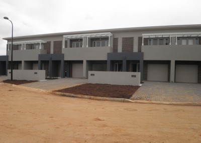 Two storey townhouses prior to landscaping
